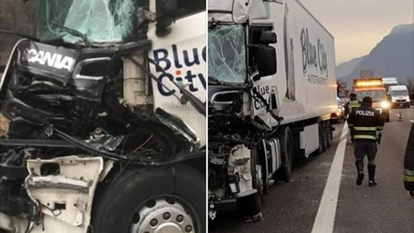 Incidente in A22: distrutta la cabina del camion, autista miracolato